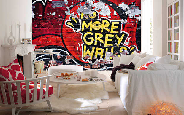No more gray walls Wall Mural
