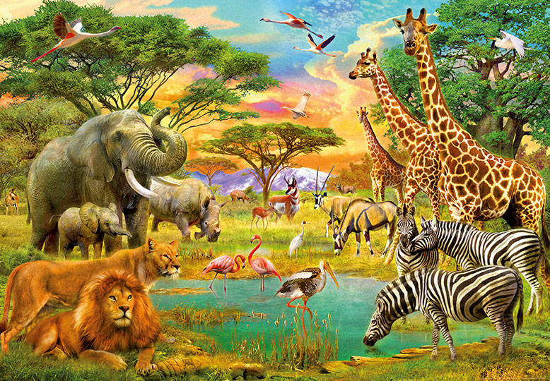 366x254cm Photo Wallpaper wall mural Safari Wild animals ...