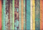 00966 Colored Wooden Wall 8-part Non-Woven Mural | Vlies Fototapete