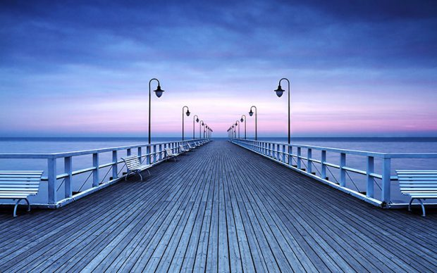 00969 Pier at the Seaside 8-part Non-Woven Mural | Vlies Fototapete
