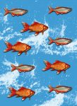 5026-2V-1 GOLD FISHES VINTAGE